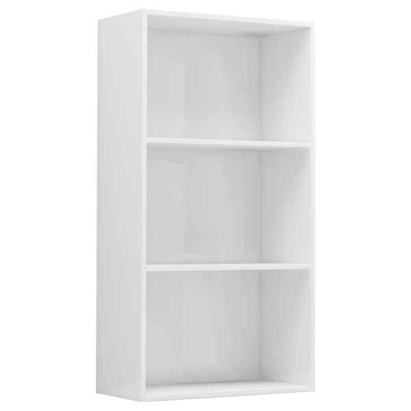Bibliotecă cu 3 rafturi, alb extralucios, 60 x 30 x 114 cm, PAL