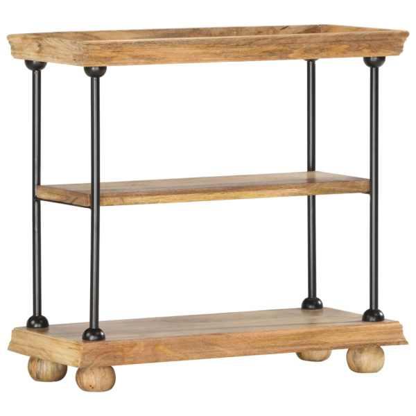 vidaXL Bibliotecă cu 2 rafturi 80x35x75 cm, lemn masiv mango și oțel