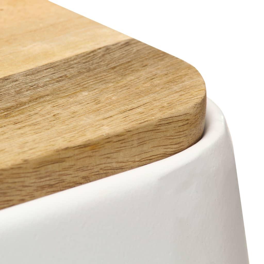 Scaune de bar, 2 buc., alb, lemn masiv de mango