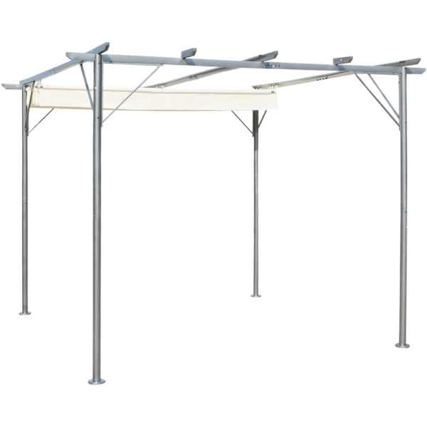 vidaXL Pergolă cu acoperiș retractabil, alb crem, 3 x 3 m, oțel