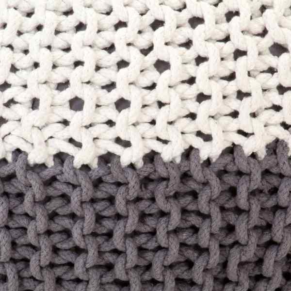 Fotoliu puf tricotat manual, antracit și alb, 50×35 cm, bumbac
