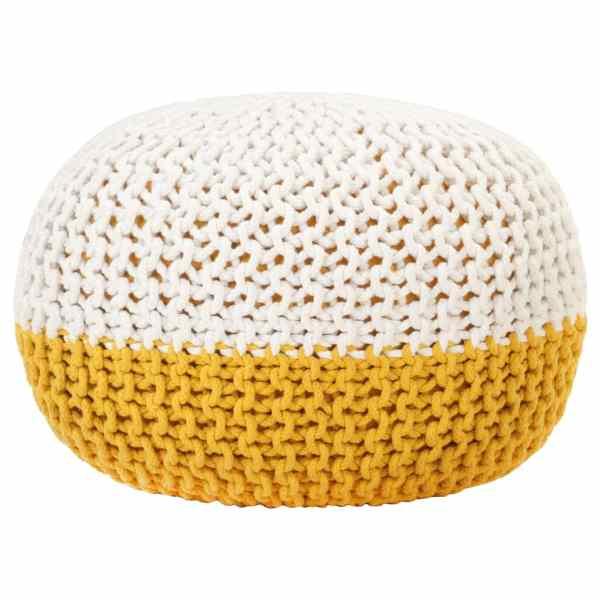 vidaXL Fotoliu puf tricotat manual, muștar/alb, 50×35 cm, bumbac