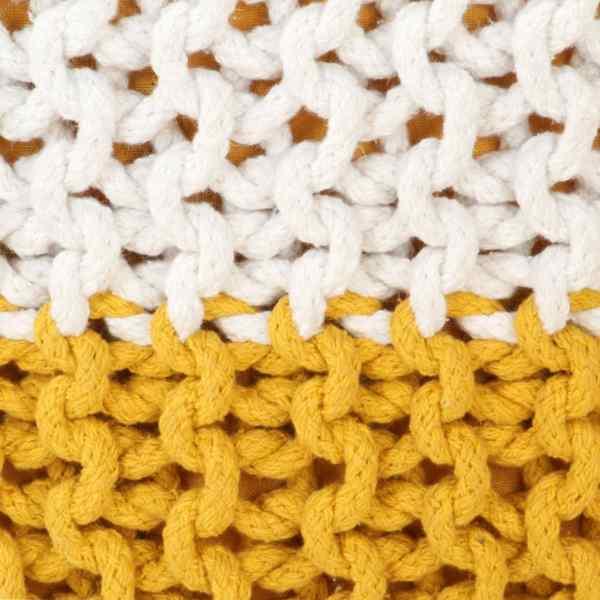 Fotoliu puf tricotat manual, muștar/alb, 50×35 cm, bumbac