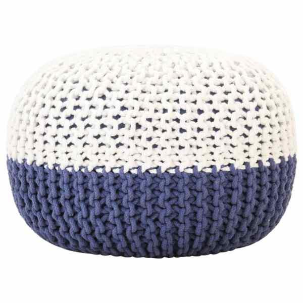vidaXL Fotoliu puf tricotat manual, albastru/alb, 50×35 cm, bumbac