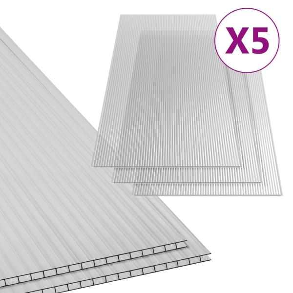 Plăci din policarbonat, 5 buc., 150 x 65 cm, 6 mm