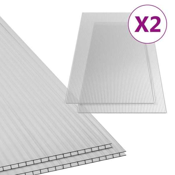 Plăci din policarbonat, 2 buc., 150 x 65 cm, 10 mm