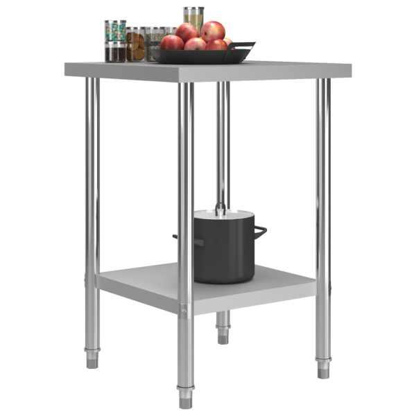 Masă de lucru bucătărie, 60 x 60 x 85 cm, oțel inoxidabil