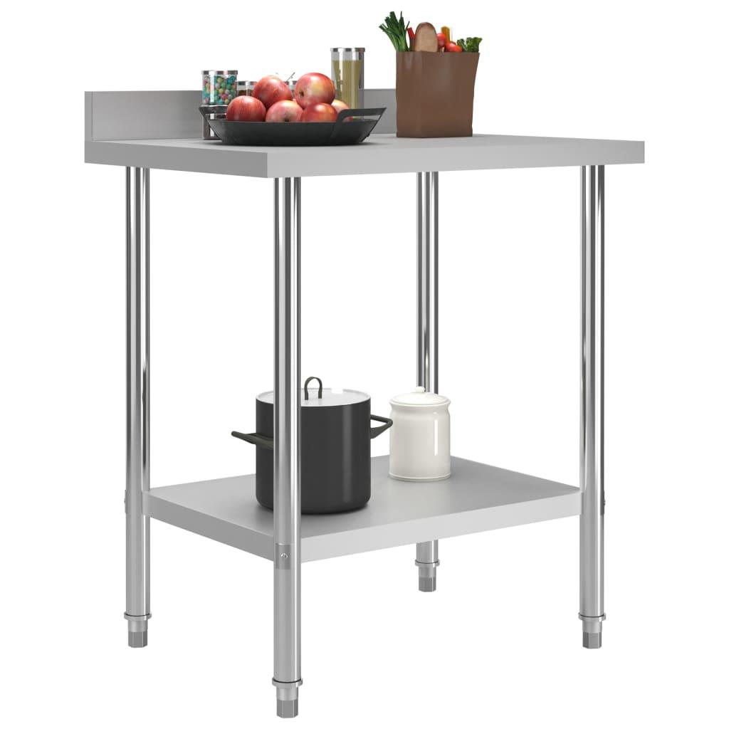 Masă de lucru bucătărie bordură antistropire 80x60x93 cm oțel