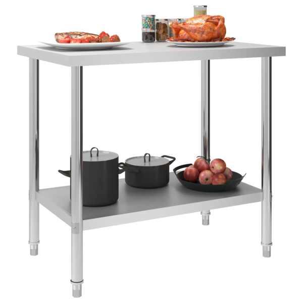 vidaXL Masă de lucru bucătărie, 100 x 60 x 85 cm, oțel inoxidabil