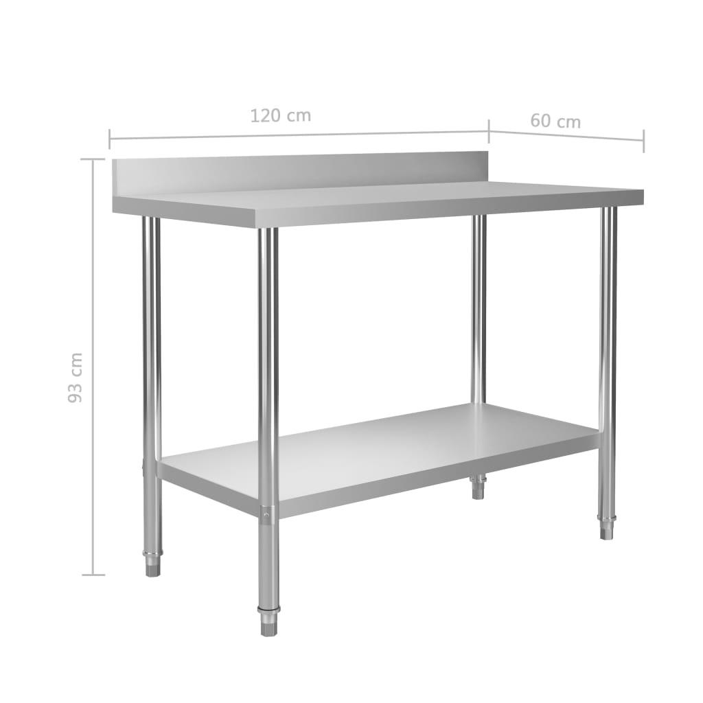 Masă de lucru bucătărie bordură antistropire 120x60x93 cm oțel