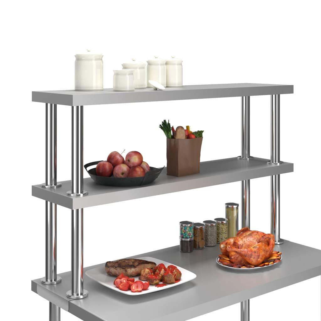 vidaXL Raft masă de lucru cu 2 niveluri, 120x30x65 cm, oțel inoxidabil
