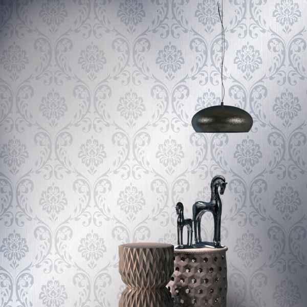 vidaXL Role de tapet nețesut, 4 buc., alb, 0,53 x 10 m, ornamental