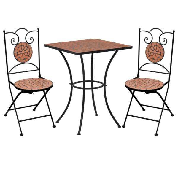 vidaXL Set de bistro mozaic, 3 piese, cărămiziu, placă ceramică