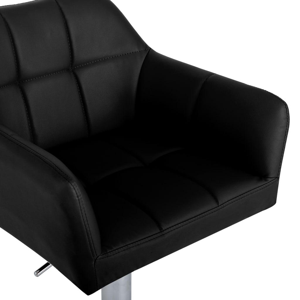 vidaXL Scaune de bar cu brațe, 2 buc., negru, piele ecologică