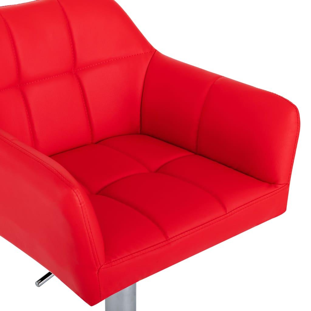 vidaXL Scaune de bar cu brațe, 2 buc., roșu, piele ecologică