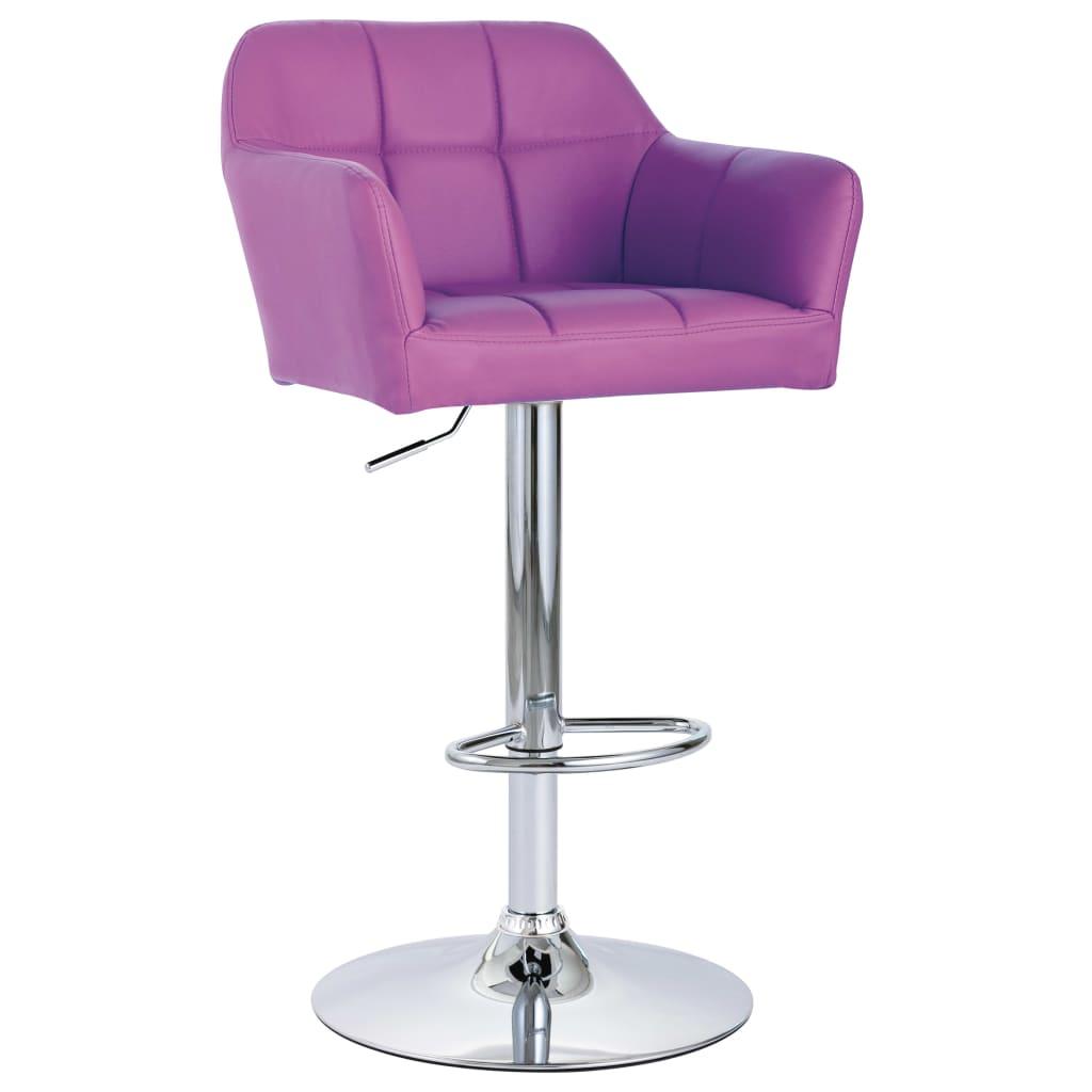 Scaune de bar cu brațe, 2 buc., violet, piele ecologică