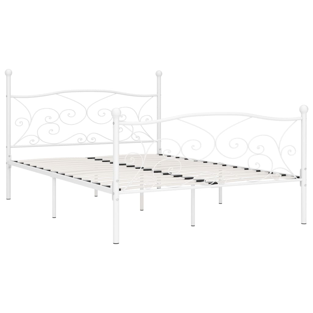Cadru de pat cu bază din șipci, alb, 160 x 200 cm, metal