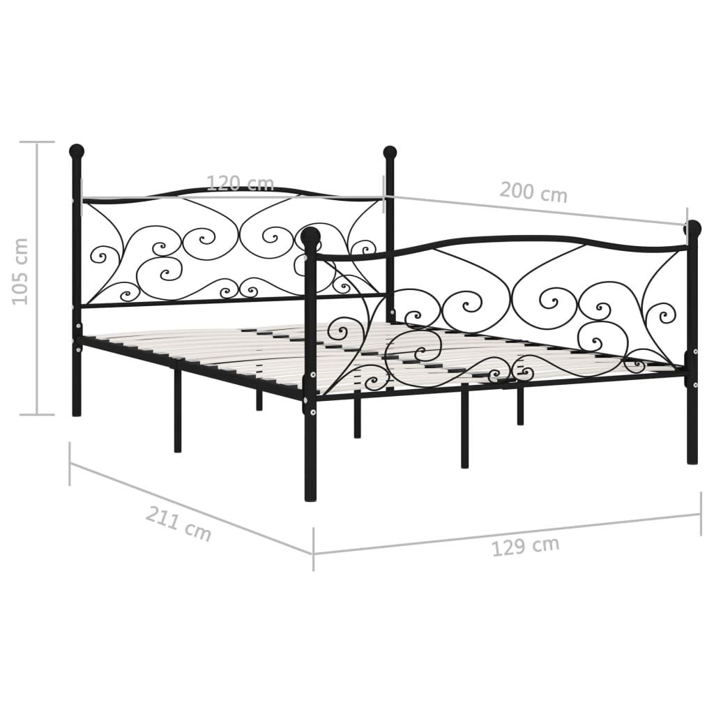 Cadru de pat cu bază din șipci, negru, 120 x 200 cm, metal