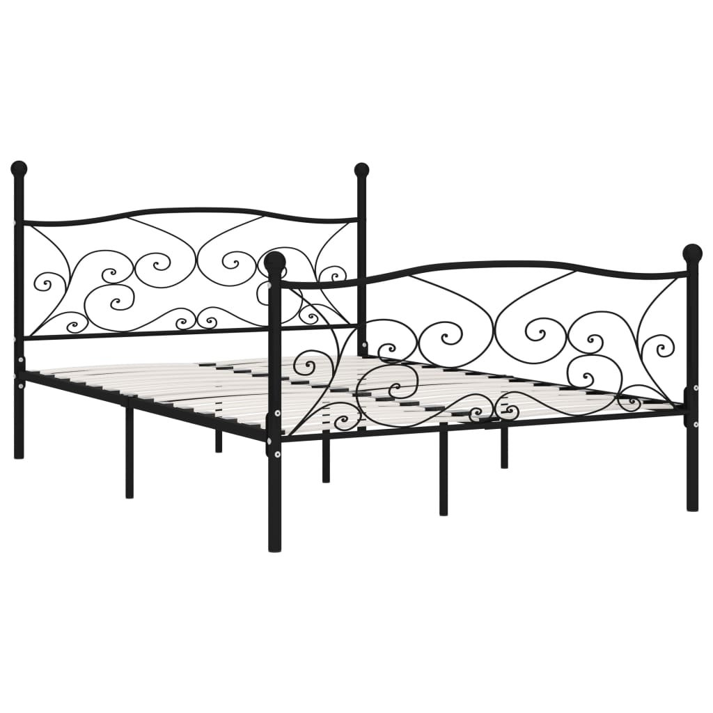 Cadru de pat cu bază din șipci, negru, 160 x 200 cm, metal