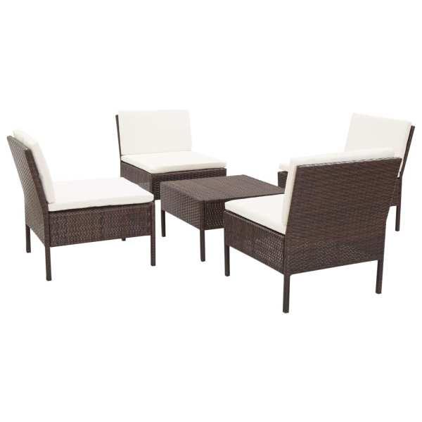 vidaXL Set canapele de grădină cu perne, 5 piese, maro, poliratan