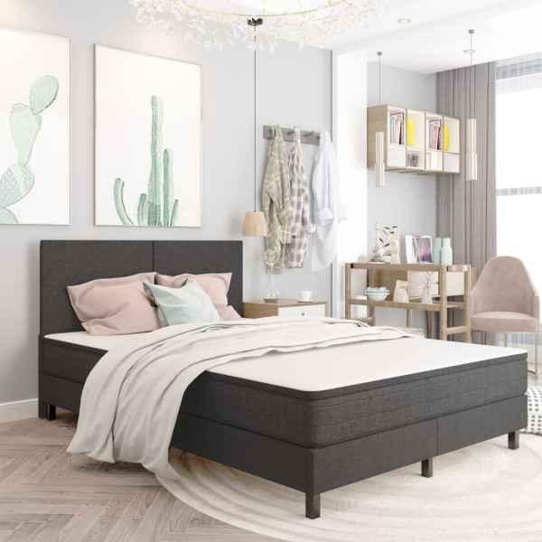 Tăblie de pat, gri închis, 160 x 200 cm, material textil