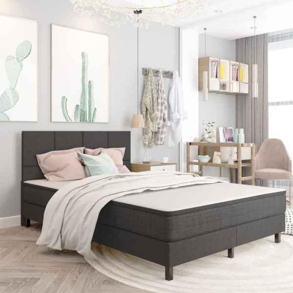 vidaXL Tăblie de pat, gri închis, 140 x 200 cm, material textil