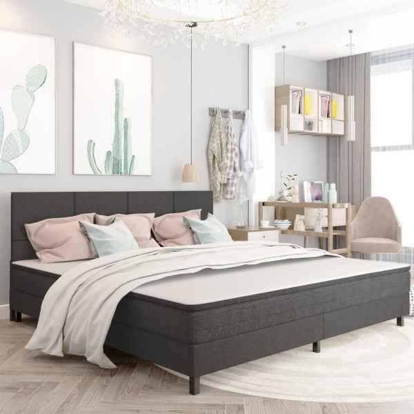 vidaXL Tăblie de pat, gri închis, 200 x 200 cm, material textil