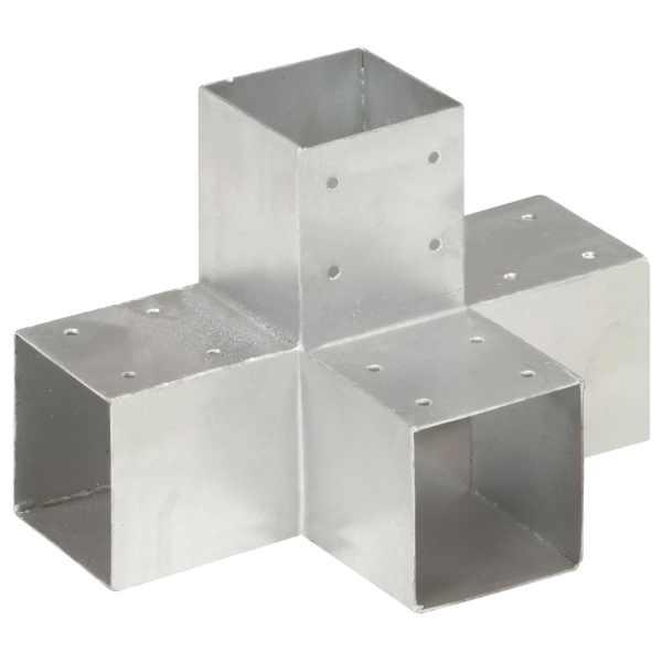 vidaXL Conector de grindă, formă X, 91 x 91 mm, metal galvanizat