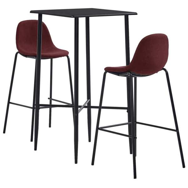 vidaXL Set de bar, 3 piese, roșu vin, material textil