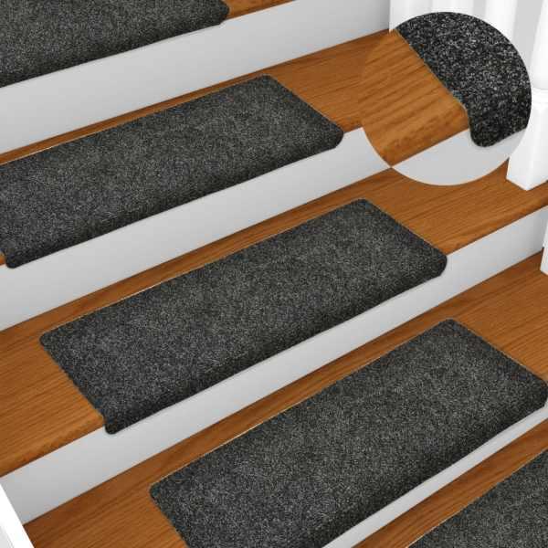 vidaXL Covorașe de scări cusătură punch, 15 buc., gri, 65 x 25 cm