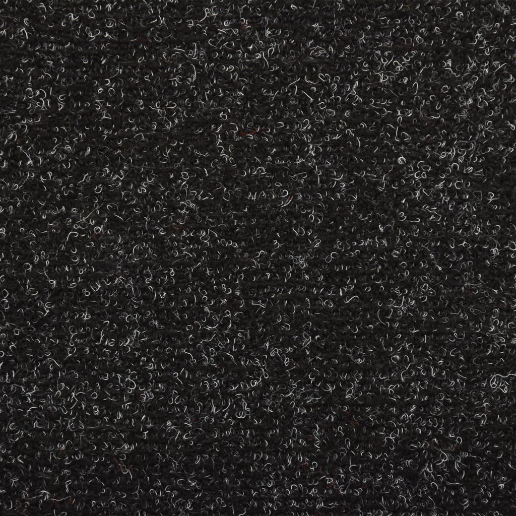 Covorașe de scări cusătură punch, 15 buc., negru, 65 x 25 cm