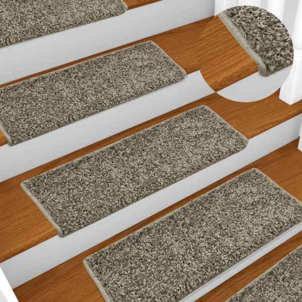 vidaXL Covorașe de trepte de scară, 15 buc., gri, 65 x 25 cm