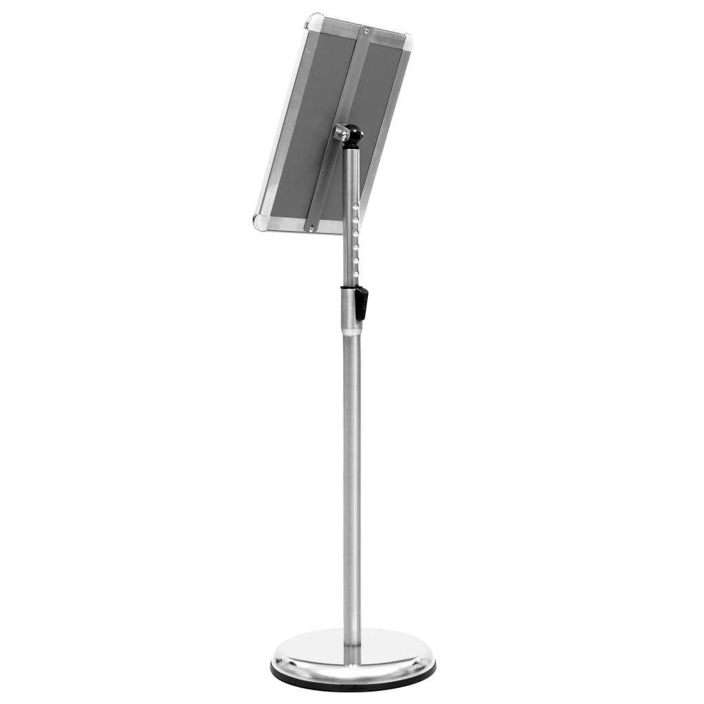 vidaXL Suport de afiș A4 cu picior, argintiu, aliaj de aluminiu