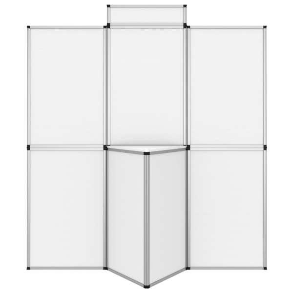 vidaXL Perete de afișaj pliabil cu 8 panouri cu masă, alb, 181×200 cm