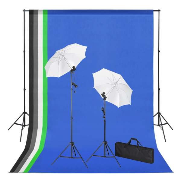 vidaXL Kit studio foto cu fundaluri, lămpi și umbrele