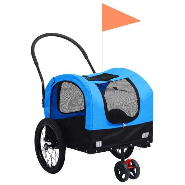 vidaXL Remorcă bicicletă & cărucior 2-în-1 animale, albastru și negru