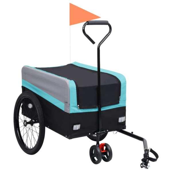vidaXL Remorcă bicicletă & cărucior 2-în-1 XXL, albastru, gri și negru