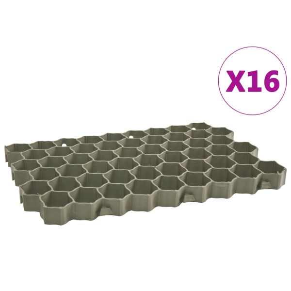 vidaXL Grilaje de gazon, 16 buc., verde, 60 x 40 x 3 cm, plastic