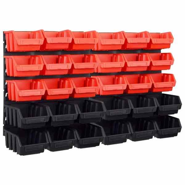 vidaXL Set coșuri depozitare 32 piese cu panouri de perete roșu&negru