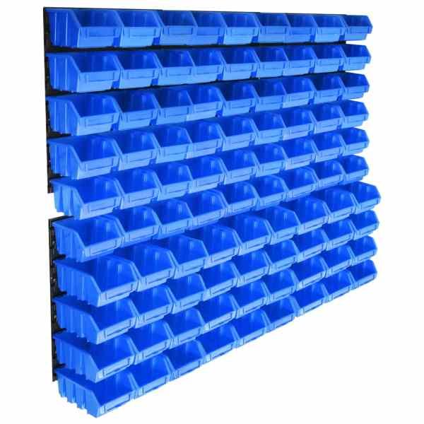vidaXL Set coșuri de depozitare 96 piese cu panouri de perete albastru