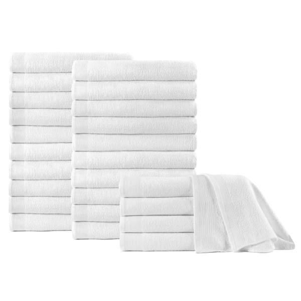 vidaXL Prosoape de duș, 25 buc., alb, 70 x 140 cm, bumbac, 450 gsm