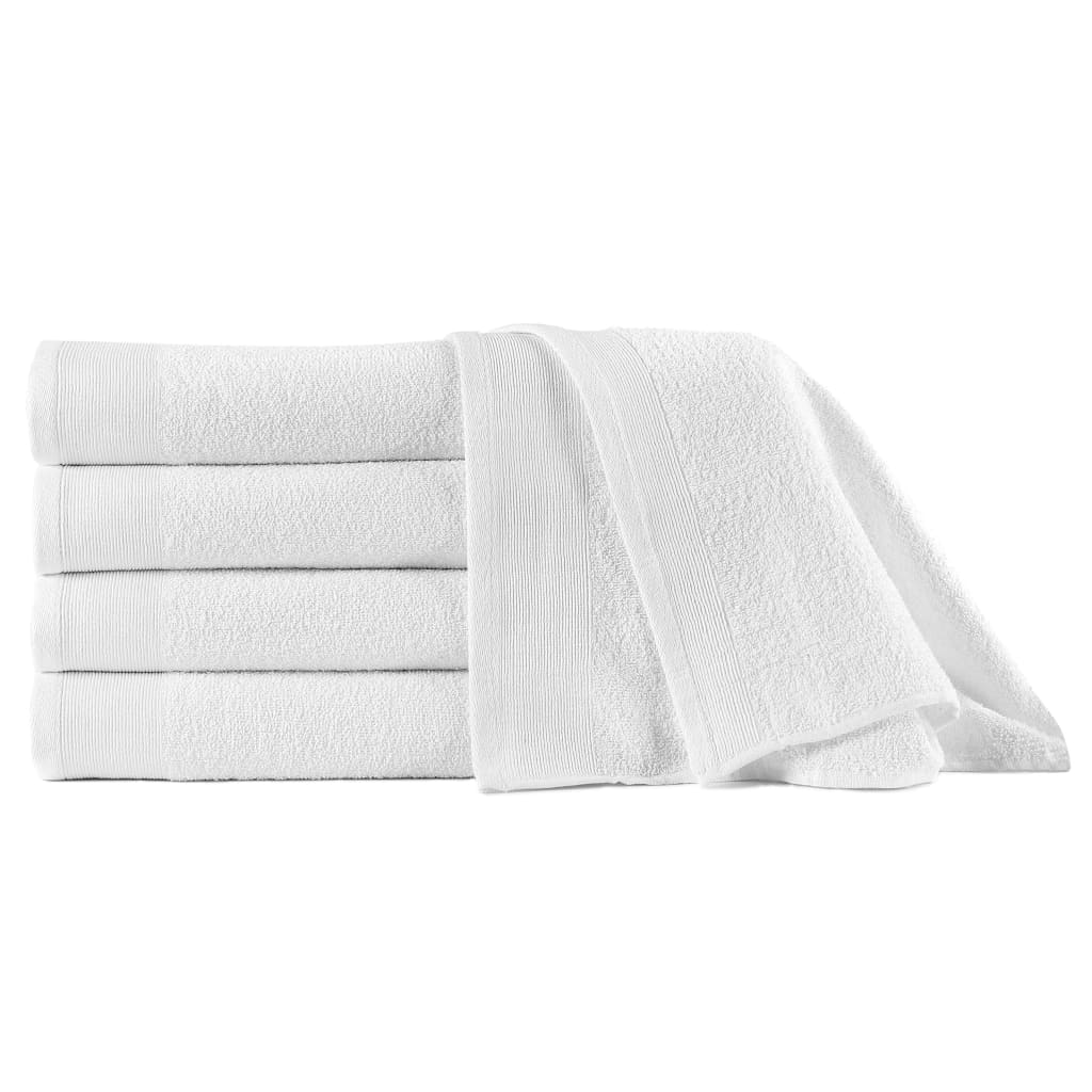vidaXL Prosoape de duș, 5 buc., alb, 70 x 140 cm, bumbac, 450 gsm