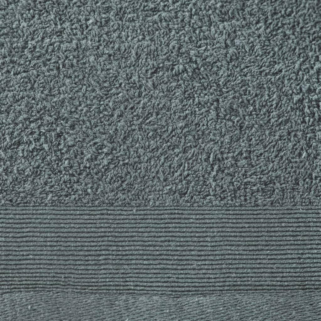 Prosoape de saună, 5 buc., verde, 80 x 200 cm, bumbac, 450 gsm