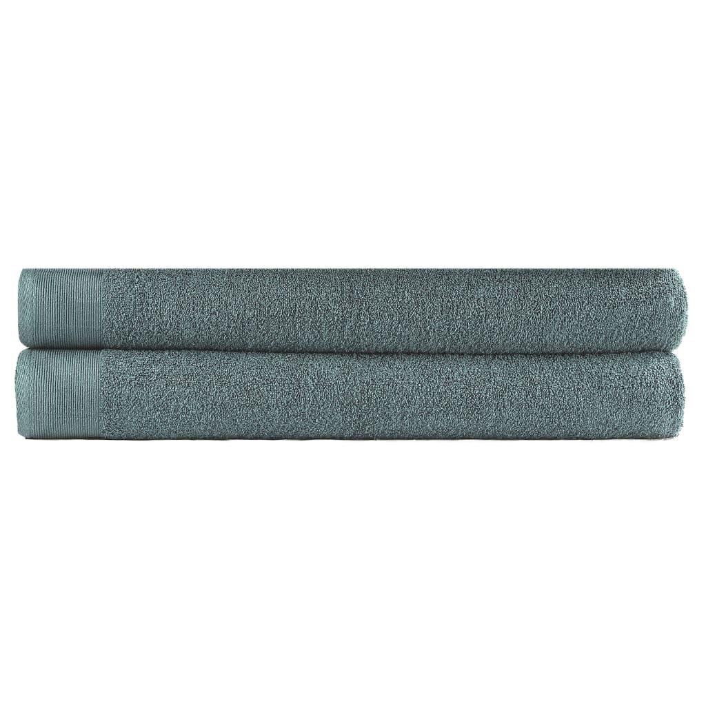vidaXL Set prosoape de saună, 2 buc, verde, 80×200 cm, bumbac, 450 gsm