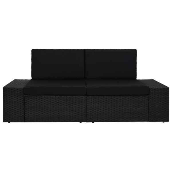 Canapea modulară cu 2 locuri, negru, poliratan