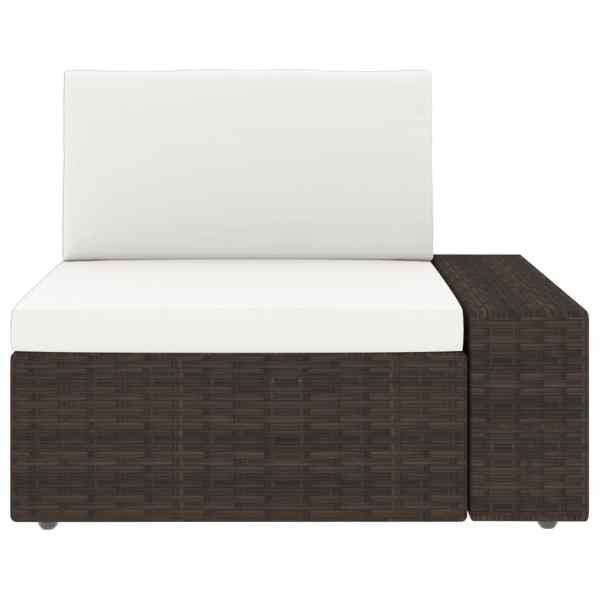 Canapea de colț modulară cu cotieră stânga, maro, poliratan