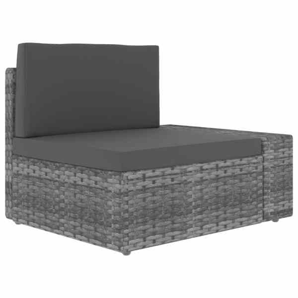 vidaXL Canapea de colț modulară cu cotieră stânga, gri, poliratan
