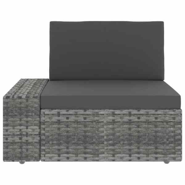 vidaXL Canapea de colț modulară cu cotieră dreapta, gri, poliratan