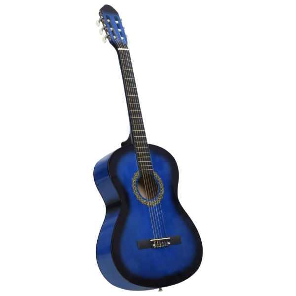 vidaXL Chitară clasică începători, albastru, 4/4 39″, lemn de tei