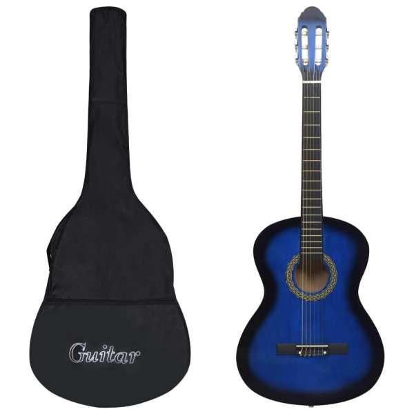vidaXL Set chitară clasică începători, 12 piese, albastru, 4/4 39″